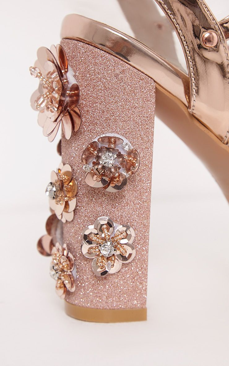 Evy Rose Gold Embellished Block Heeled Sandals High