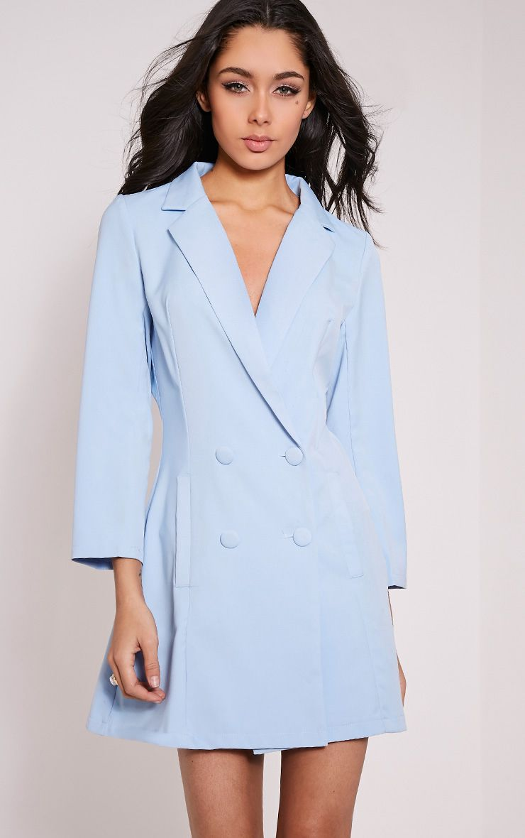 Tobyn Baby Blue Double Breasted Blazer Dress 1