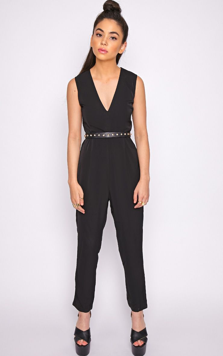 Skye Black V Front Tailored Jumpsuit  1