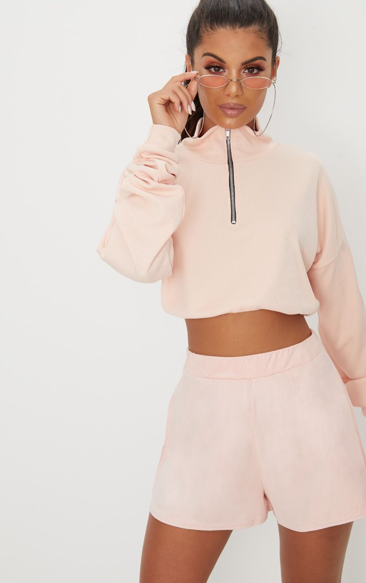 Pale Pink Faux Suede High Waisted Short