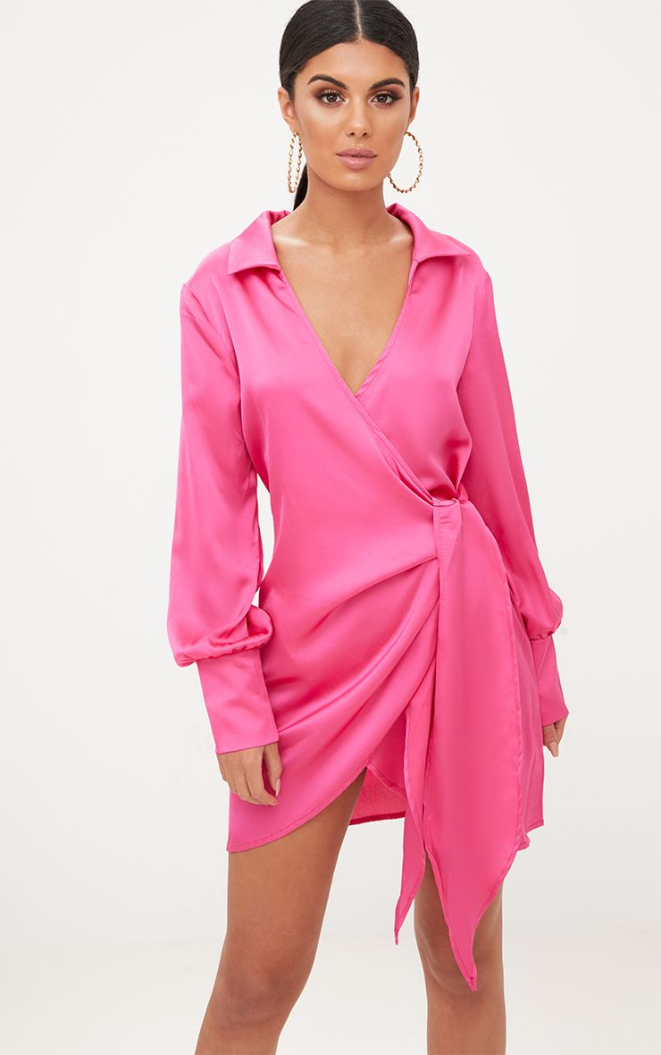 Hot Pink Satin Deep Cuff Wrap Front Shift Dress