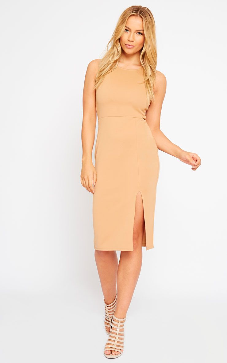 Holly Camel Thigh Split Midi Dress 1