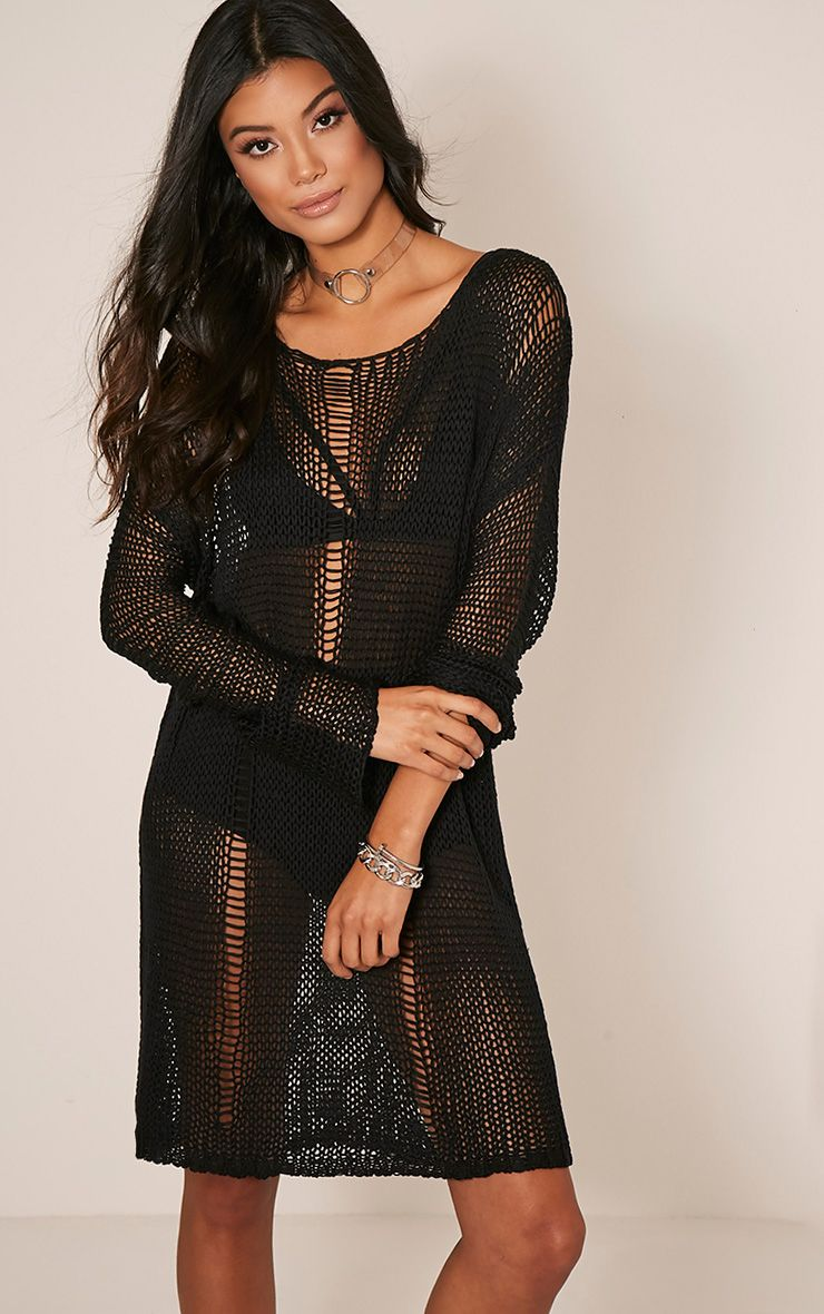 Prianca Black Oversized Knit Jumper Dress