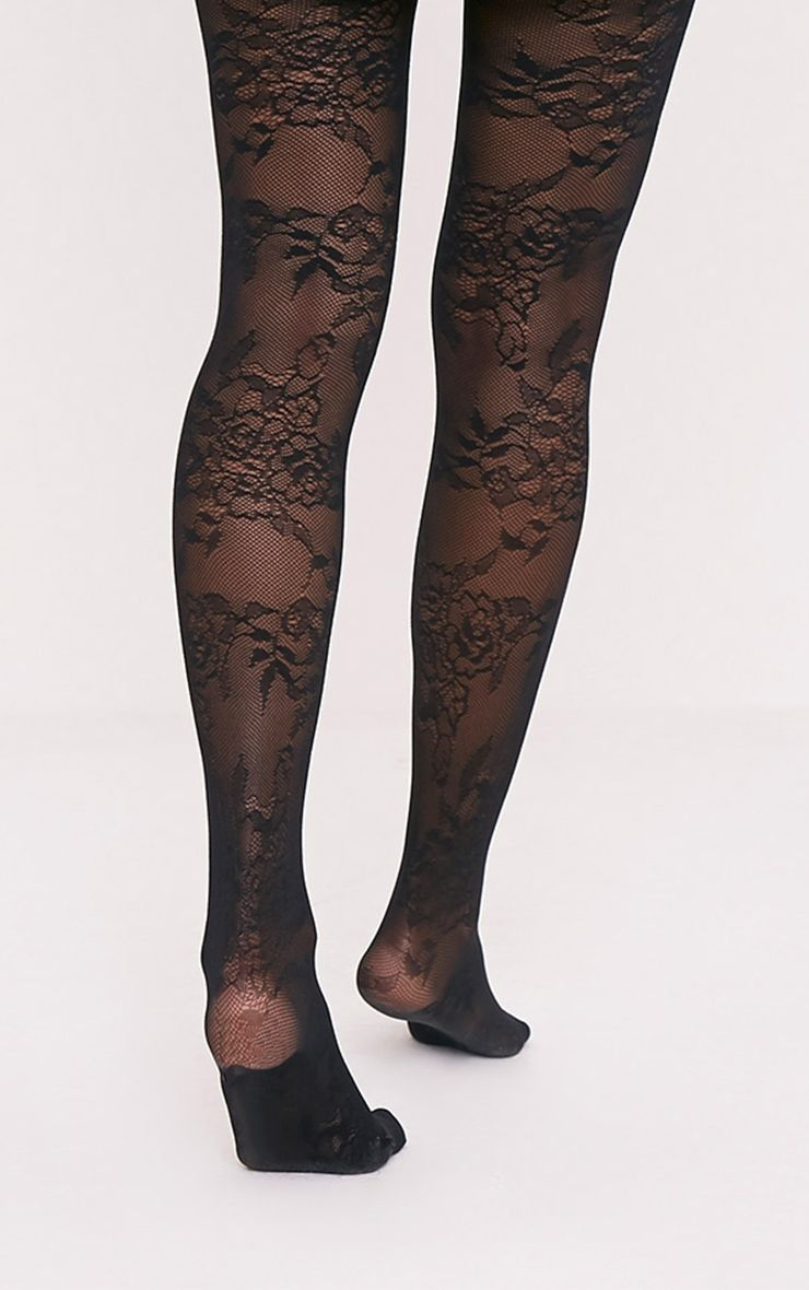 Collants noirs dentelle à motif floral Pretty Polly 2