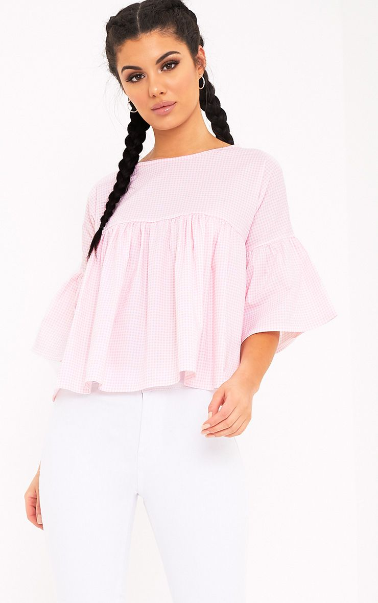 Alexiah Pink Gingham Frill Sleeve Blouse
