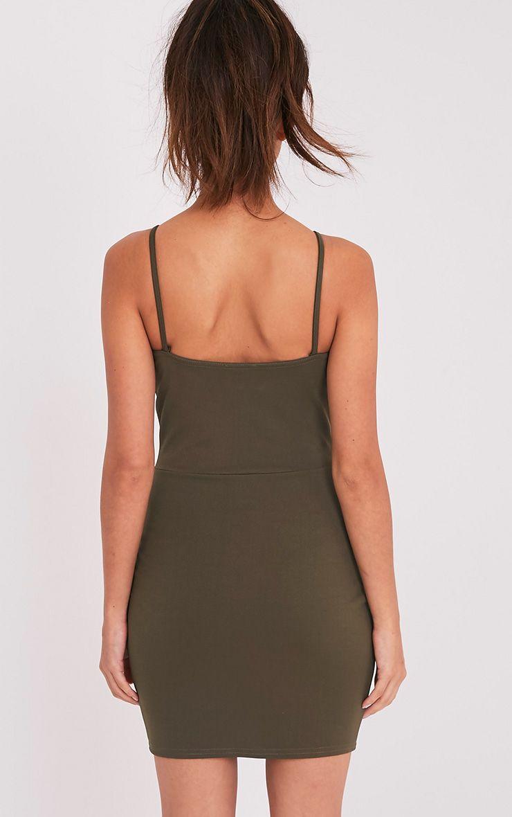 Carrie Khaki Crepe Panel Bodycon Dress 2