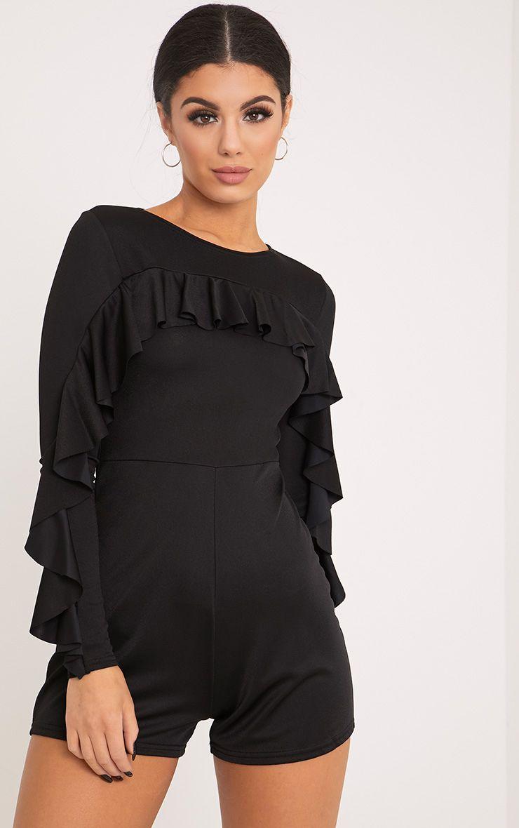 Raena Black Crepe Frill Sleeve Playsuit