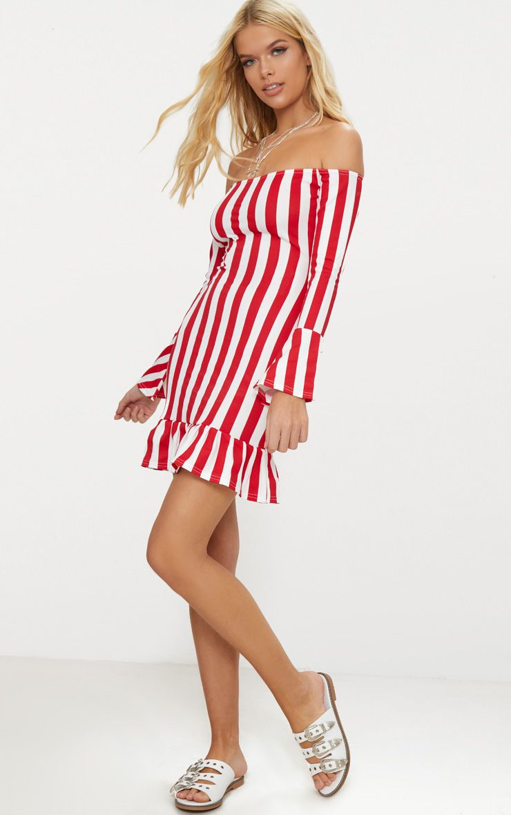 Red Stripe Fluted Sleeve Bardot Bodycon Dress Pretty Little Thing wiyXKw