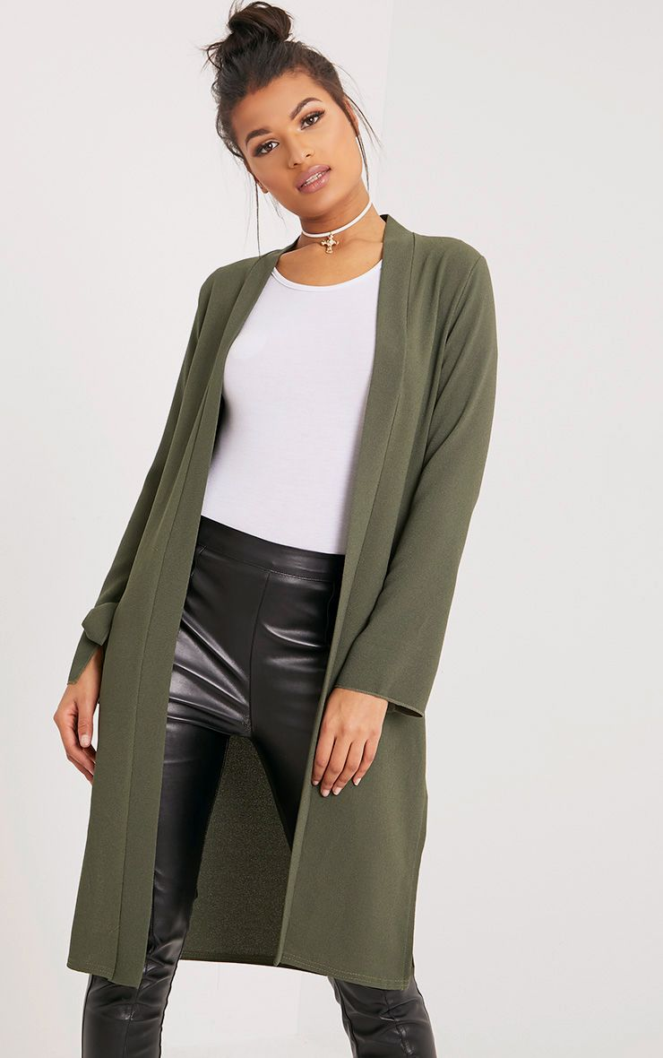 Aba Khaki Sleeve Tie Detail Duster Coat