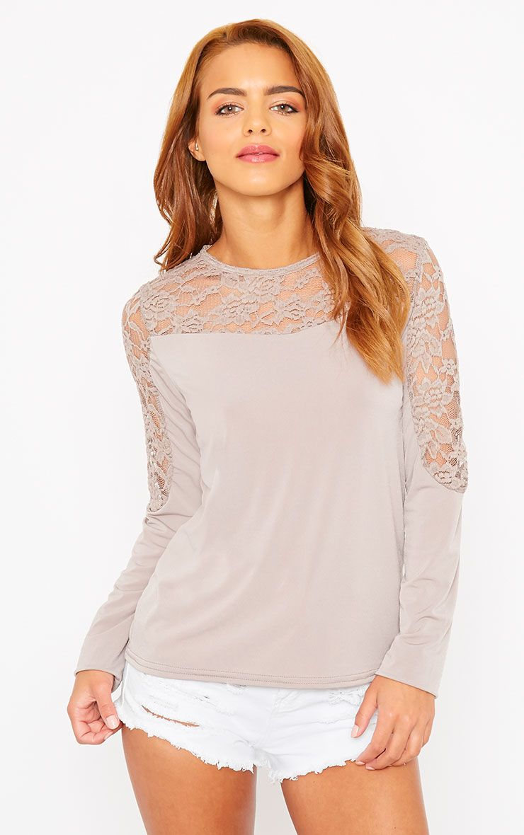 Loretta Mocha Long Sleeve Lace Panel Top 1