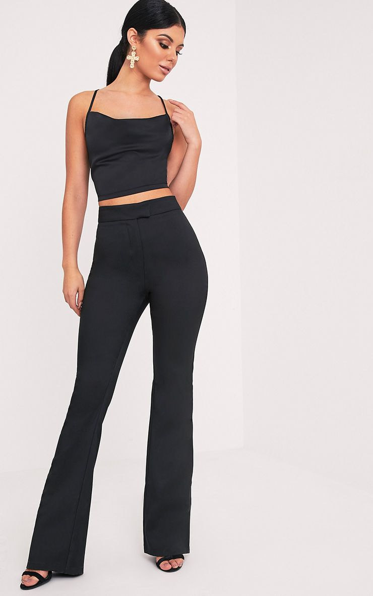 Jessa Black Fit and Flare Trousers