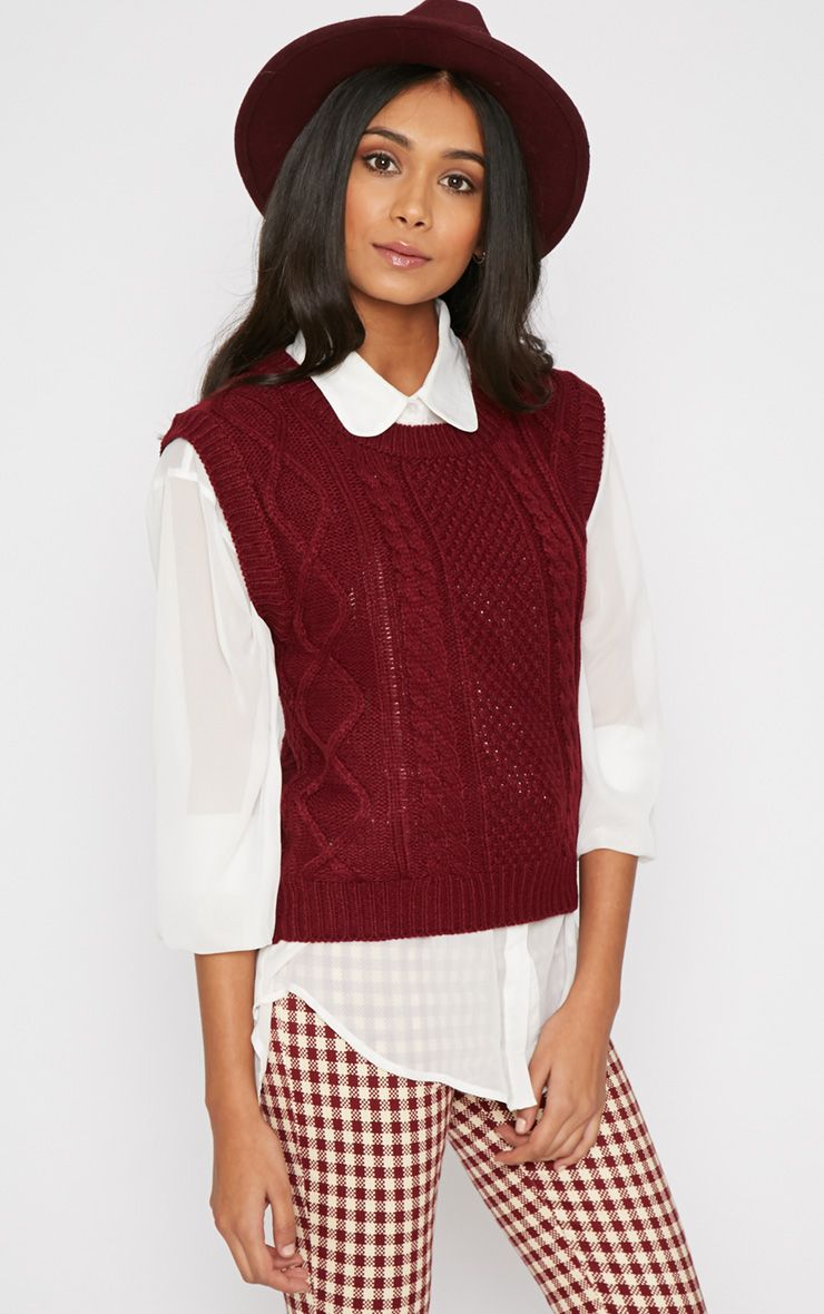 Cher Maroon Knitted Sleeveless Jumper Red