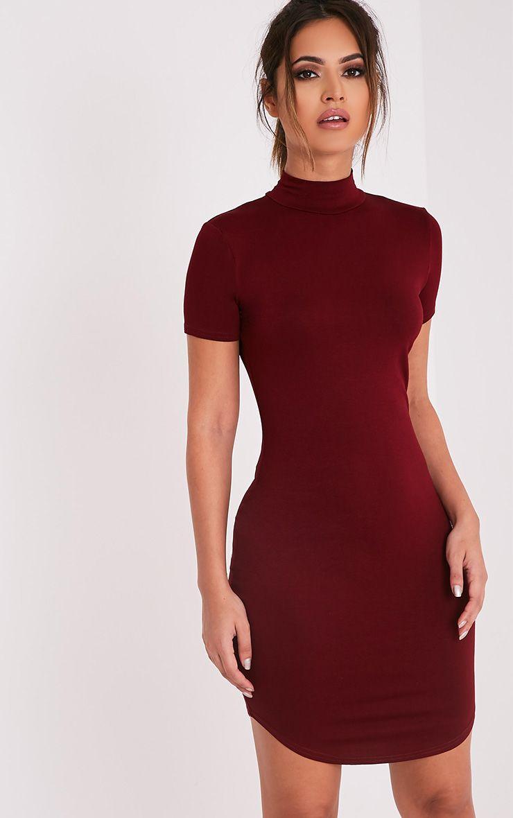 Alby Burgundy Cap Sleeve Curve Hem High Neck Dress 1