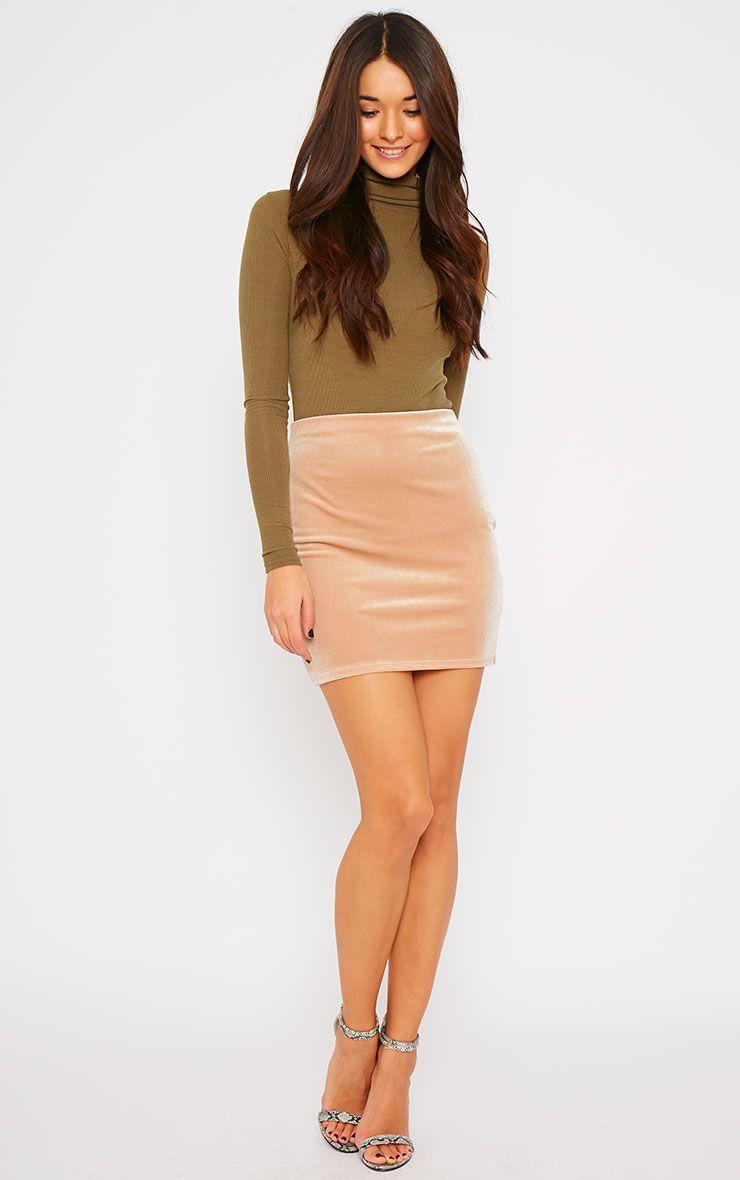 Deja Camel Velvet Mini Skirt  1