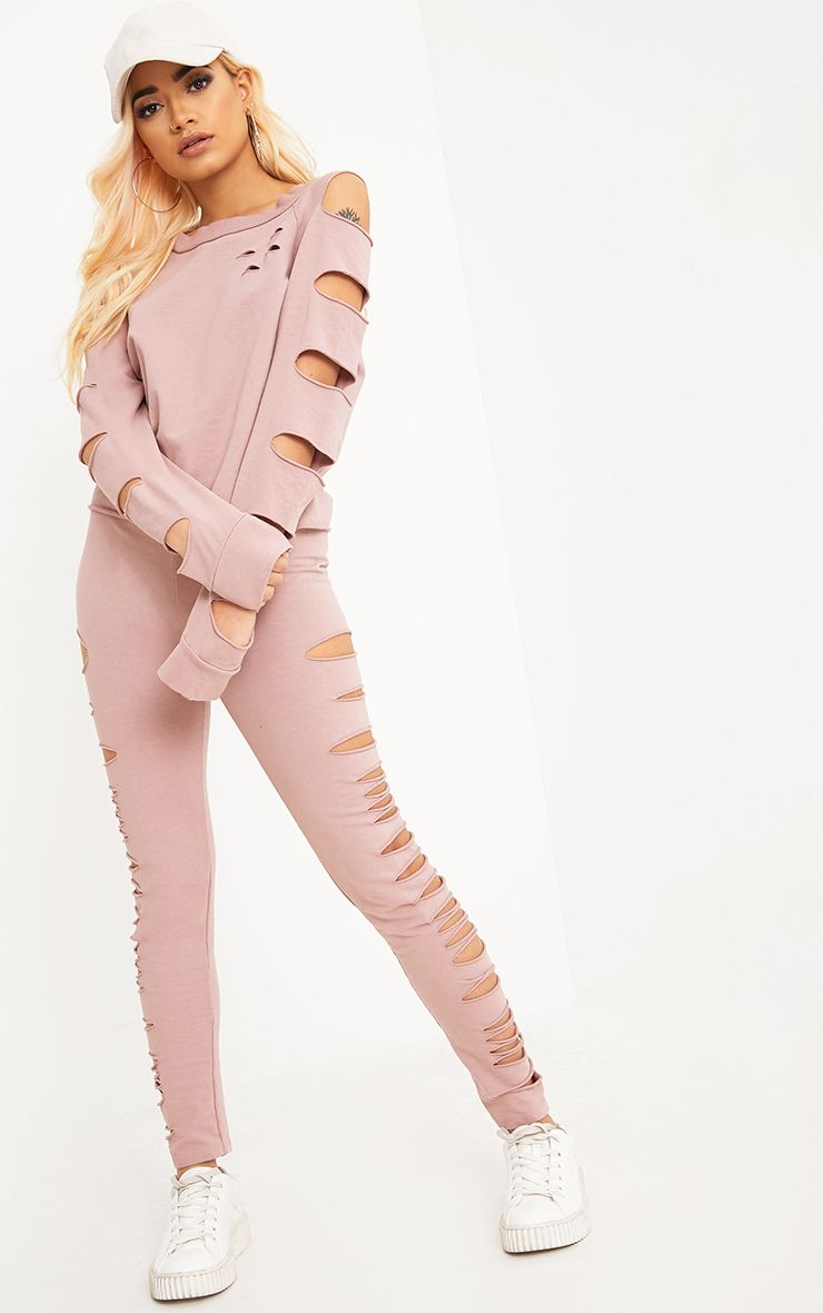 Carlie Pink Distressed Leggings