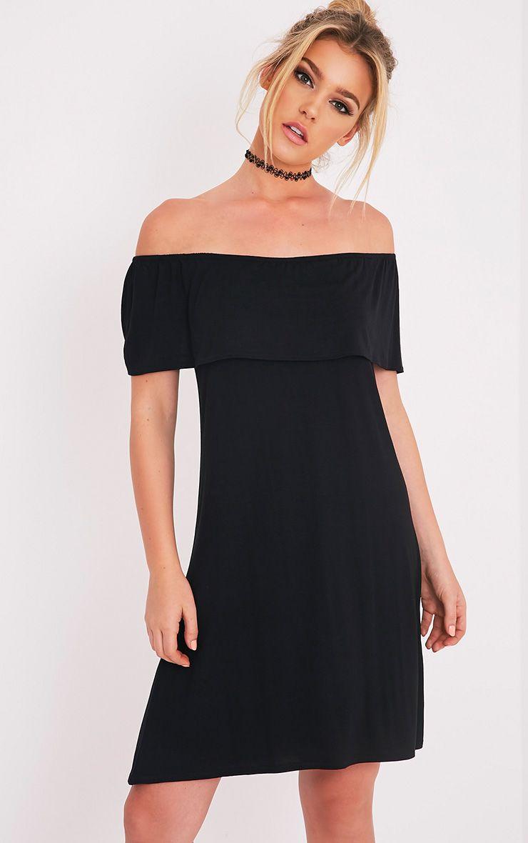 Rachel Black Jersey Bardot Swing Dress 1