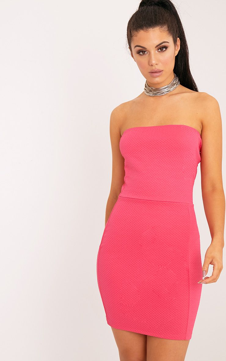 Loriella Hot Pink Textured Bandeau Bodycon Dress