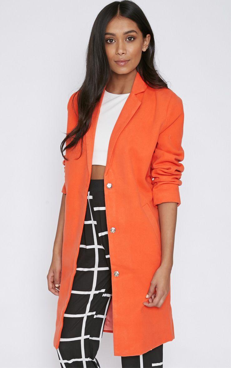 Avril Orange Longline Boyfriend Coat  1