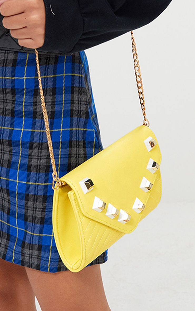 Yellow Chunky Studded Shoulder Bag