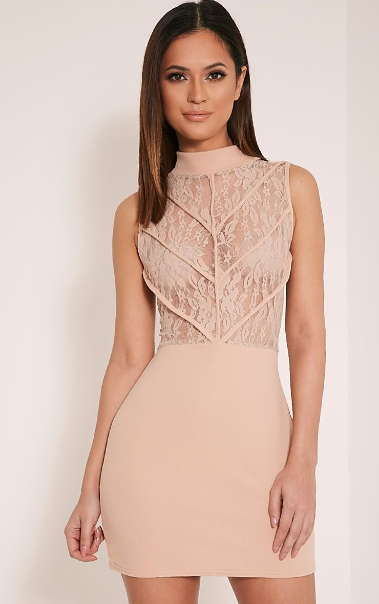 Vivian Taupe High Neck Lace Detail Bodycon Dress 1