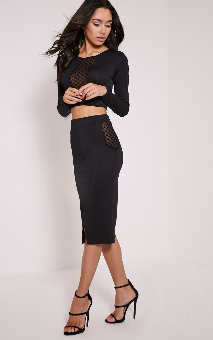 Ameliana Black Mesh Insert Midi Skirt 1