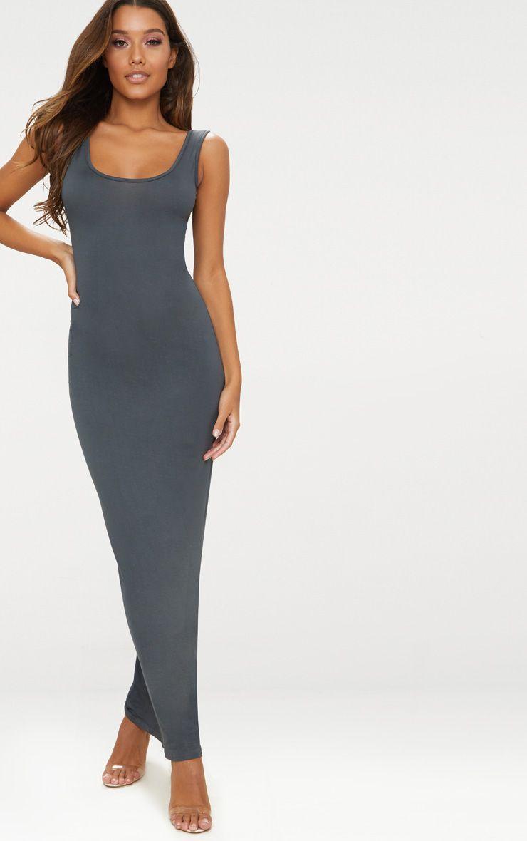 Charcoal Grey Basic Maxi Dress