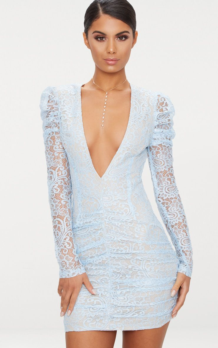 Dusty Blue Lace Puff Sleeve Ruched Detail Plunge Bodycon Dress