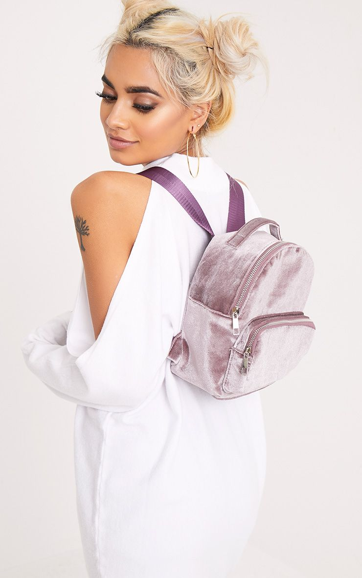 Nishka Lilac Velvet Backpack 1