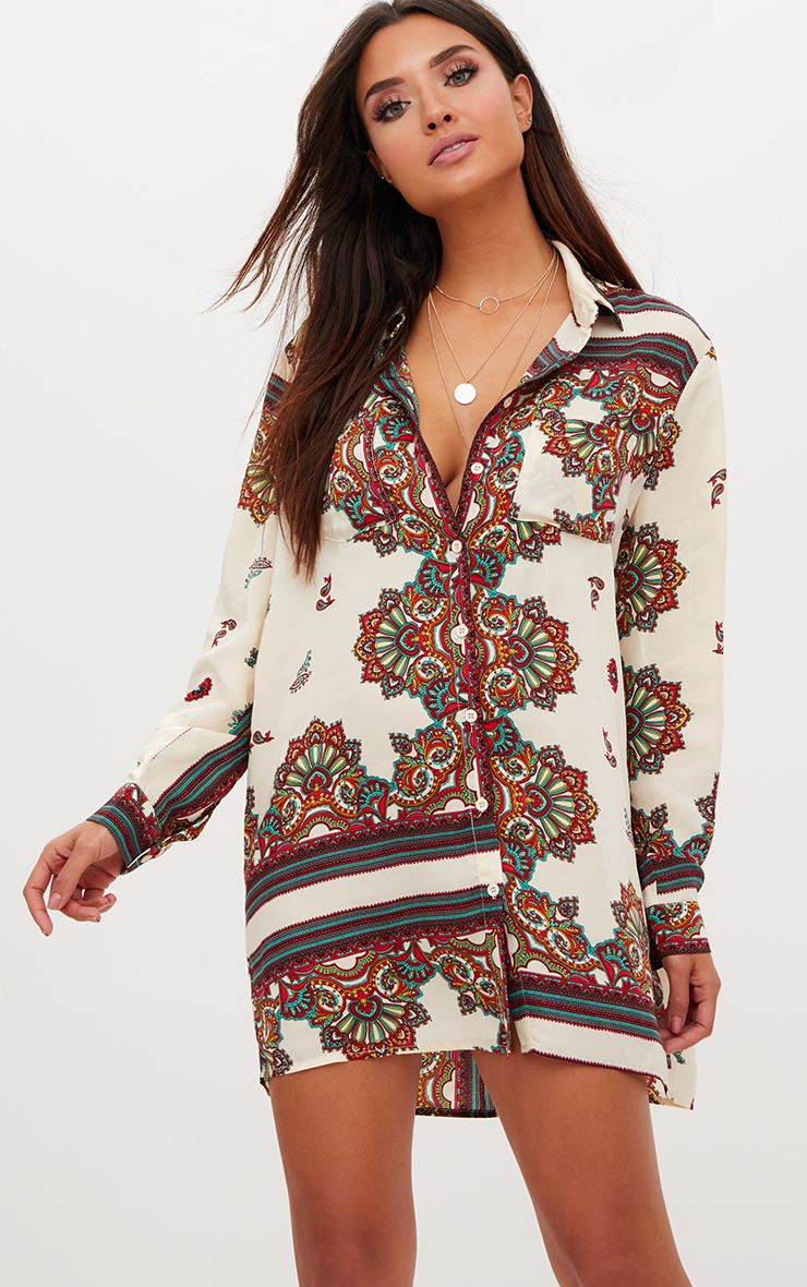 White printed Satin Shirt Dress