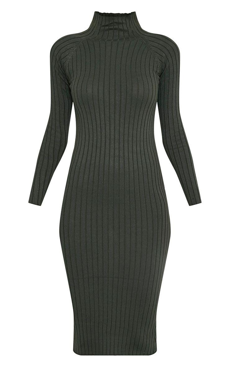 Katalina Khaki Wide Ribbed Knitted Midi Dress 3