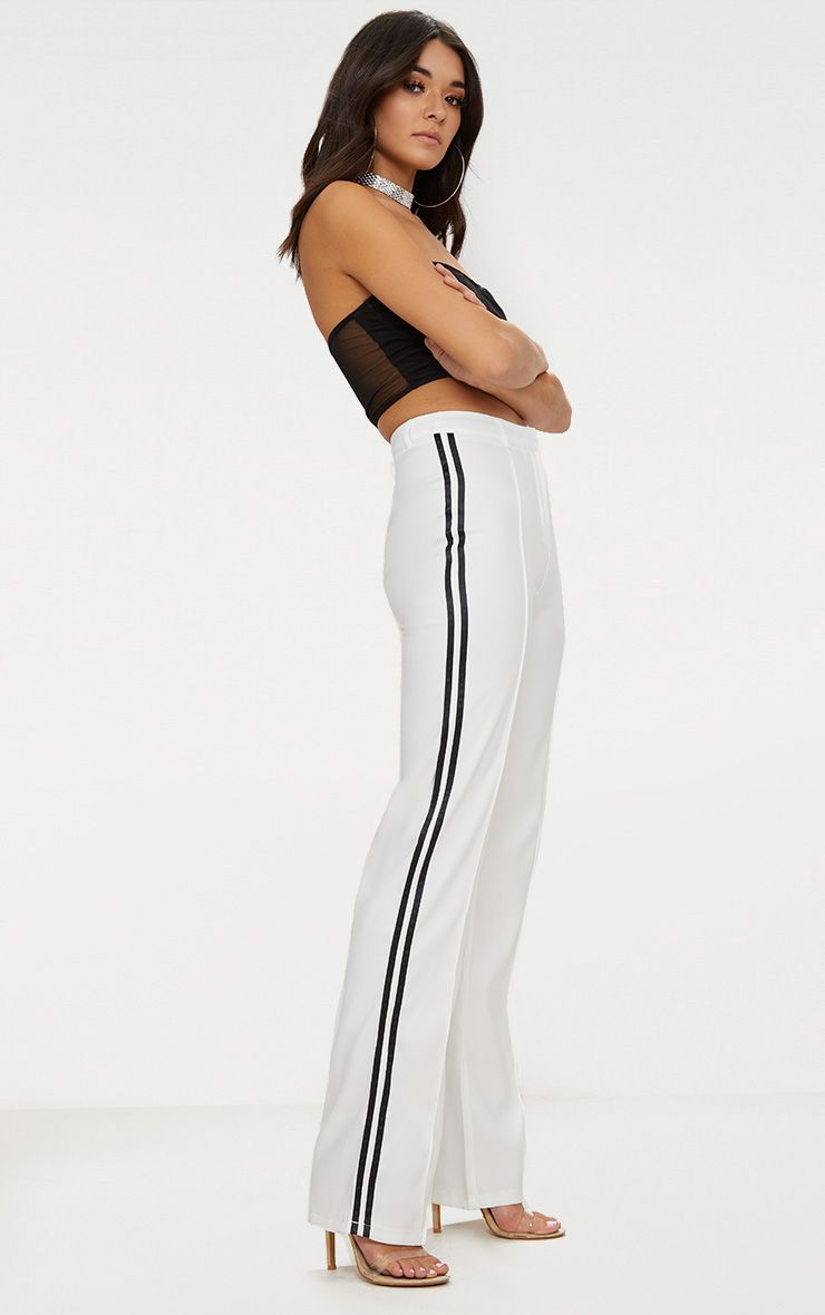 White Track Stripe High Waisted Straight Leg Trousers
