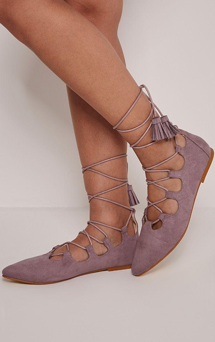 Fraya Lilac Tassel Tie Flats 1