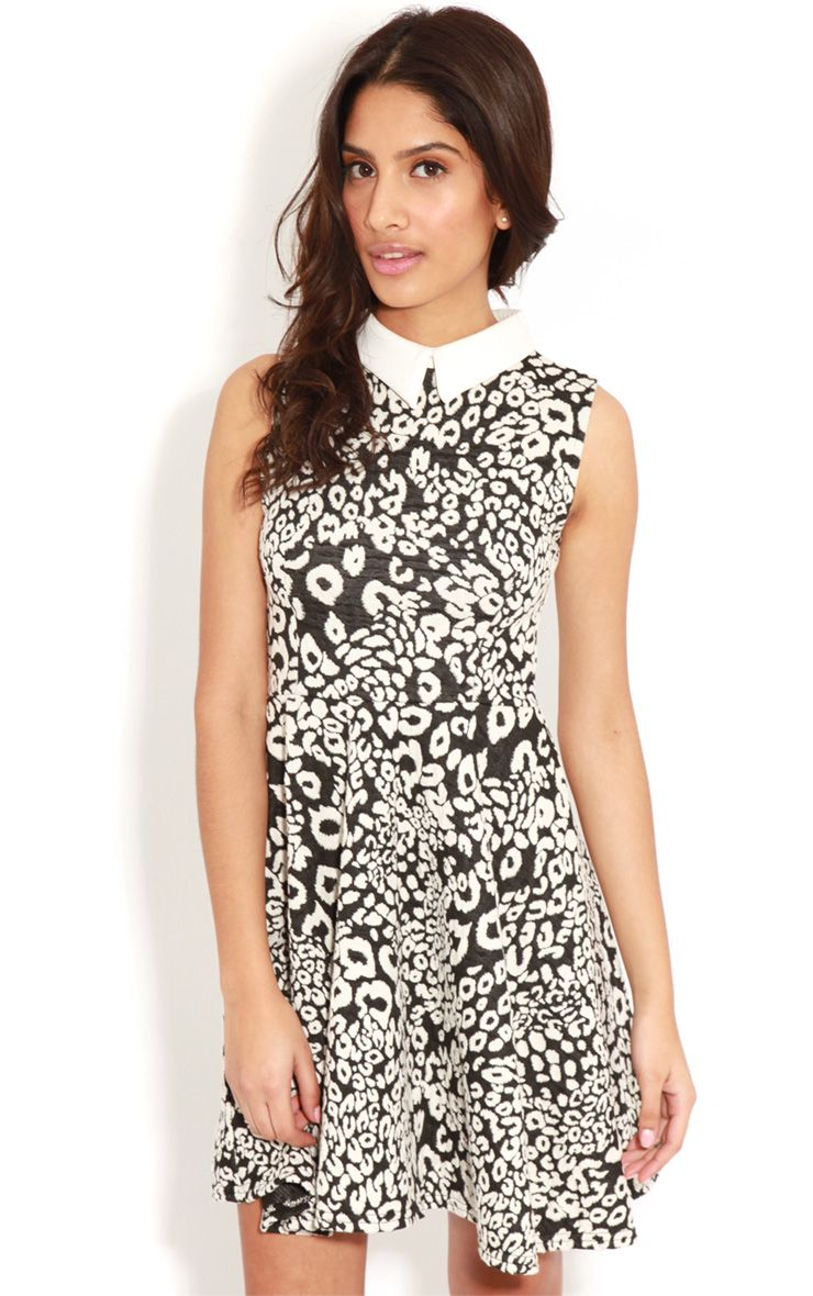 Parma Black & White Leopard Collar Skater Dress 1