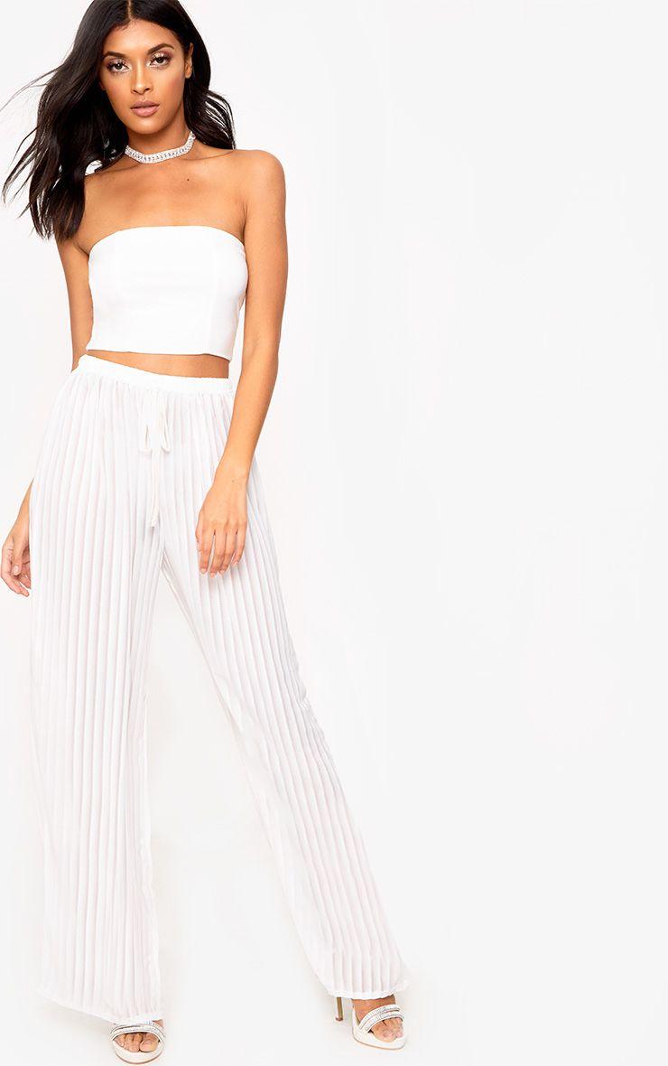 White Stripe Chiffon Beach Trousers