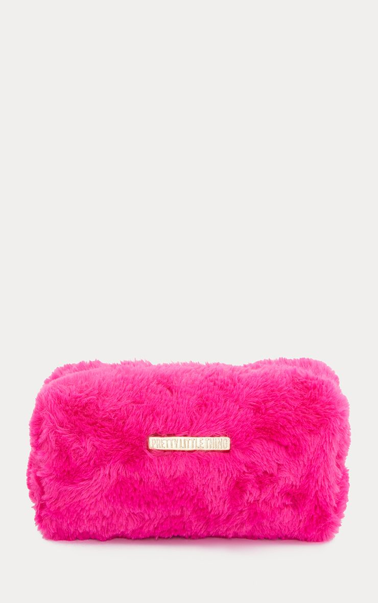 Fuchsia PrettyLittleThing Faux Fur Makeup Bag