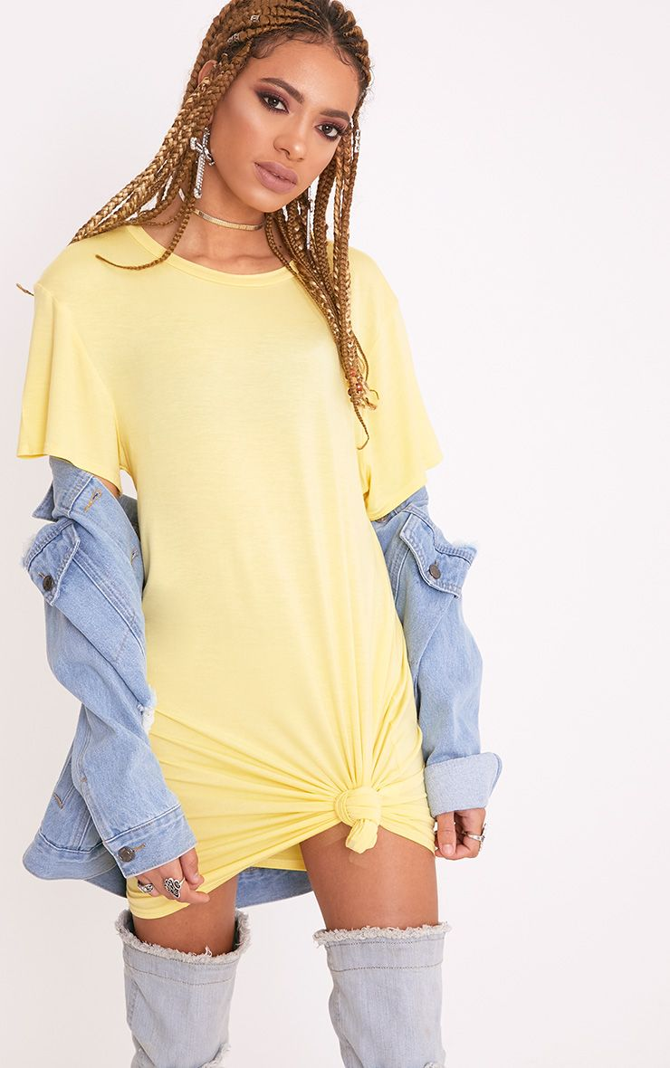 Basic Lemon Short Sleeve T Shirt Dress
