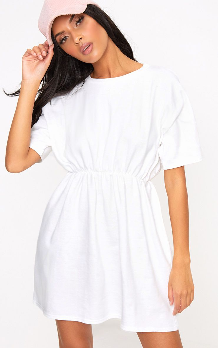 White Loop Back Waist Detail Sweater Dress