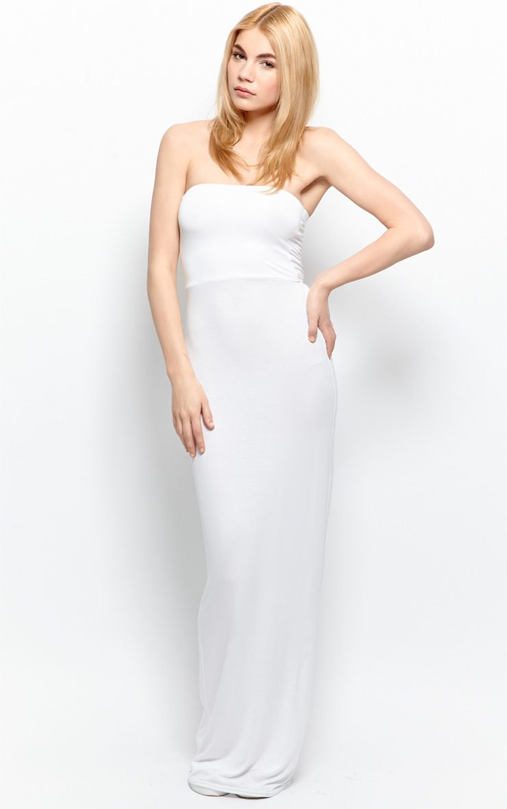 Albany White Bandeau Maxi Dress 1