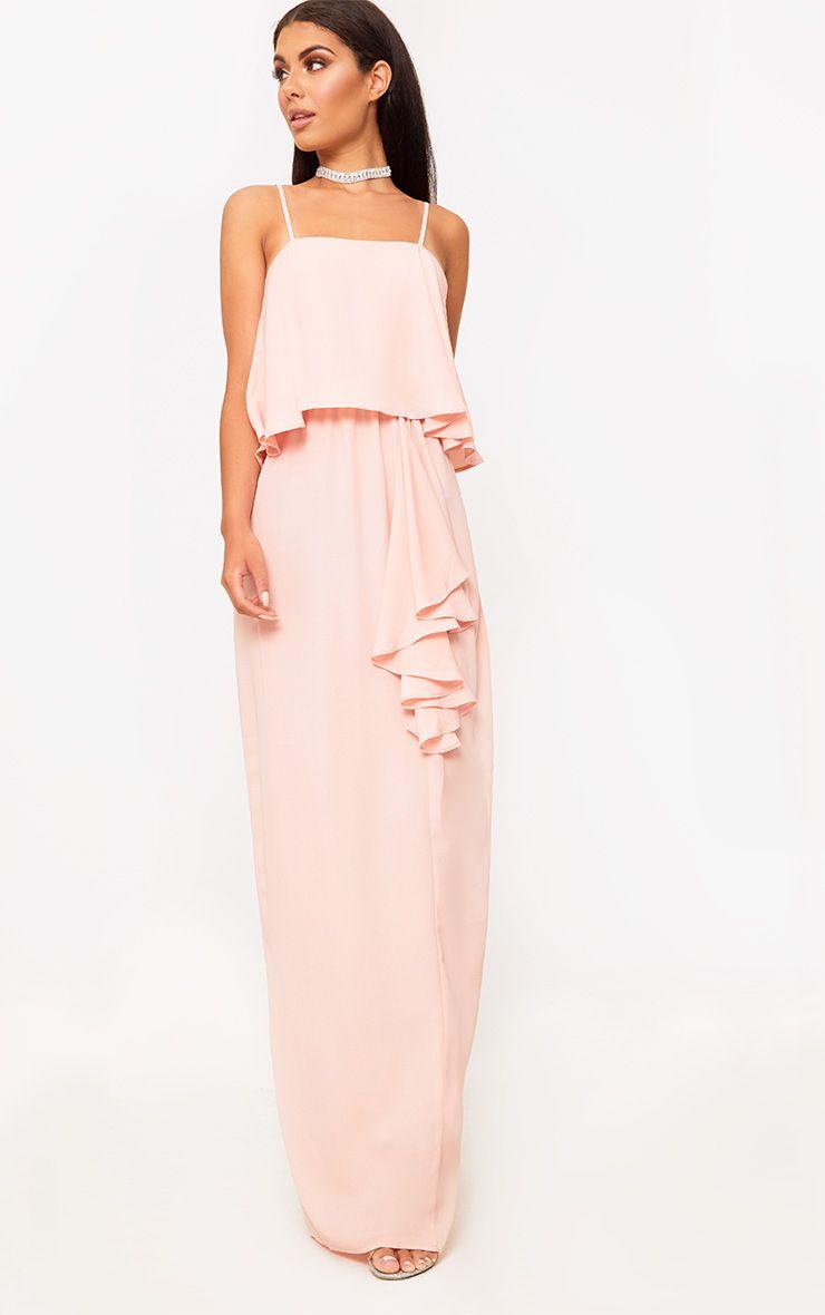 Blush Strappy Ruffle Front Maxi Dress