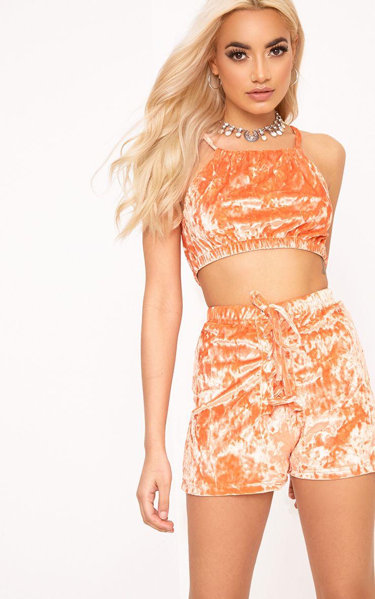 Aletia short à lacets en velours orange