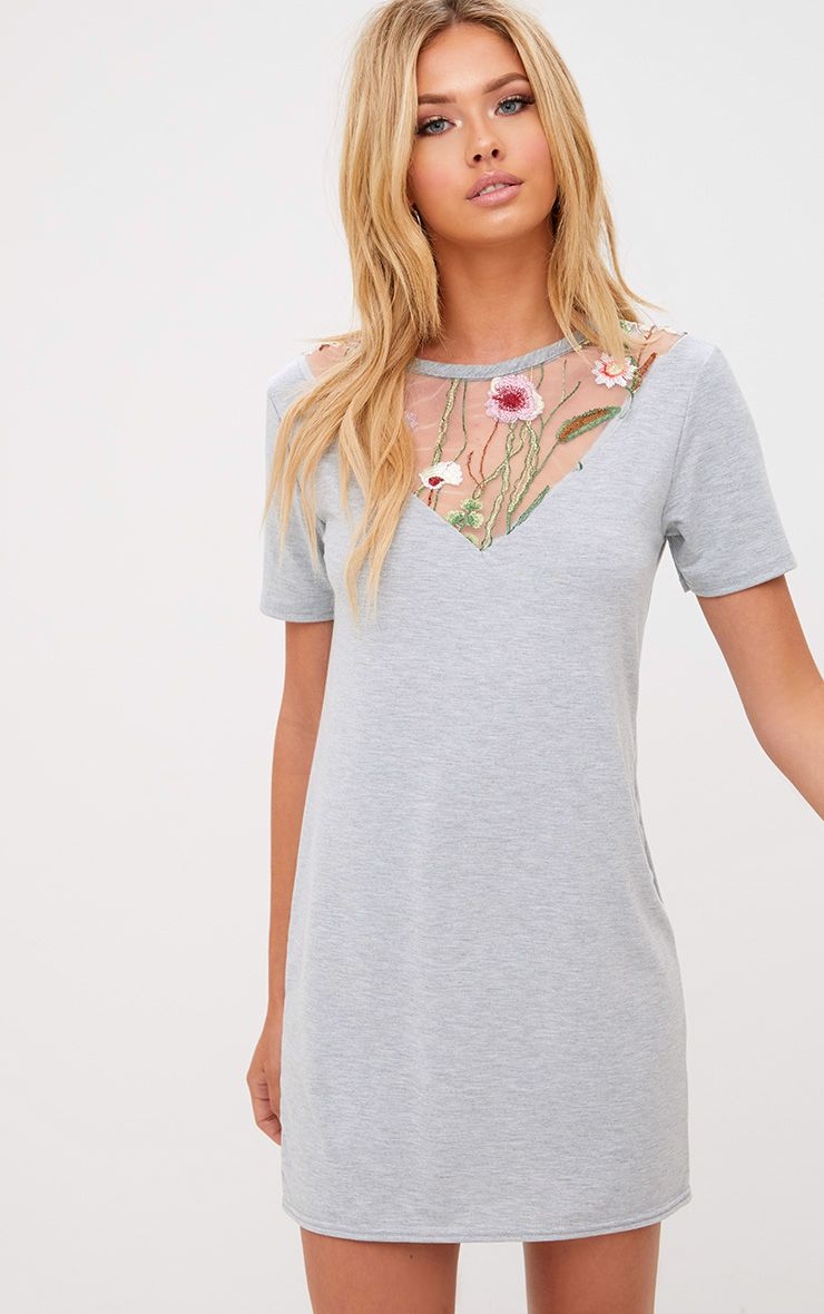 Grey Marl Embroidered Insert T Shirt Dress