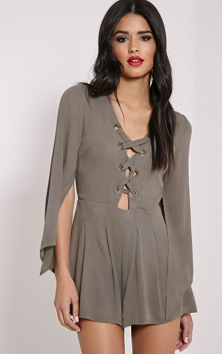 Clemence Grey Lace Up Detail Bell Sleeve Playsuit 1