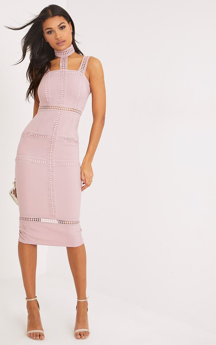 Ryley Mauve Choker Detail Lace Trim Midi Dress