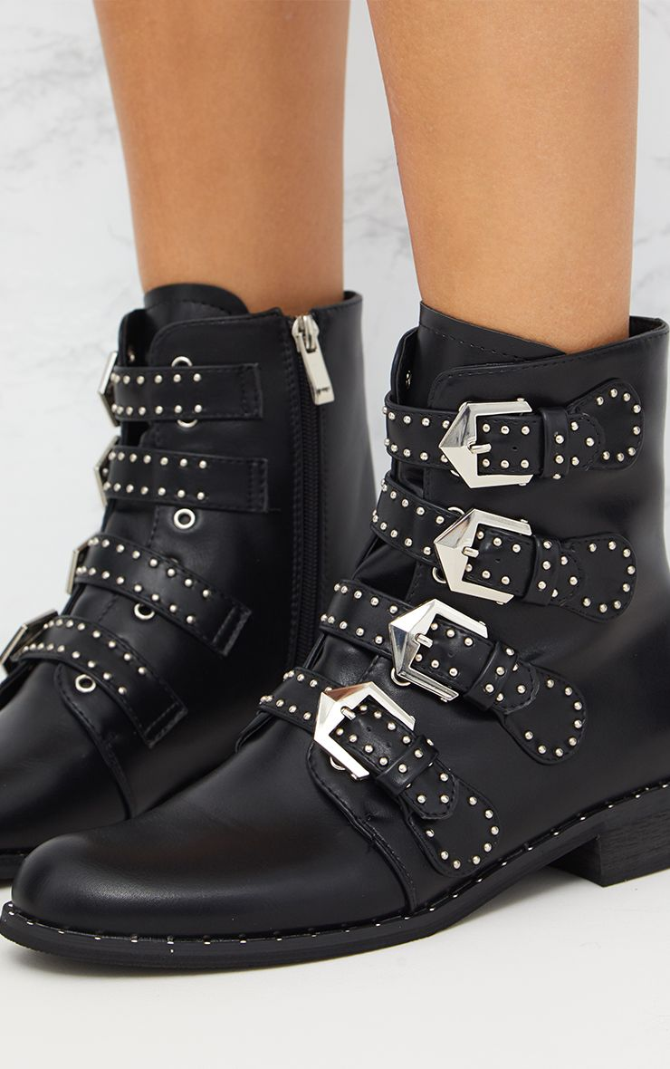 Black Pu Studded Buckle Ankle Boots Shoes