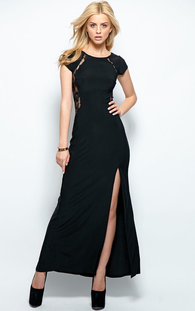 Venus Black Lace Panel Maxi Dress 1