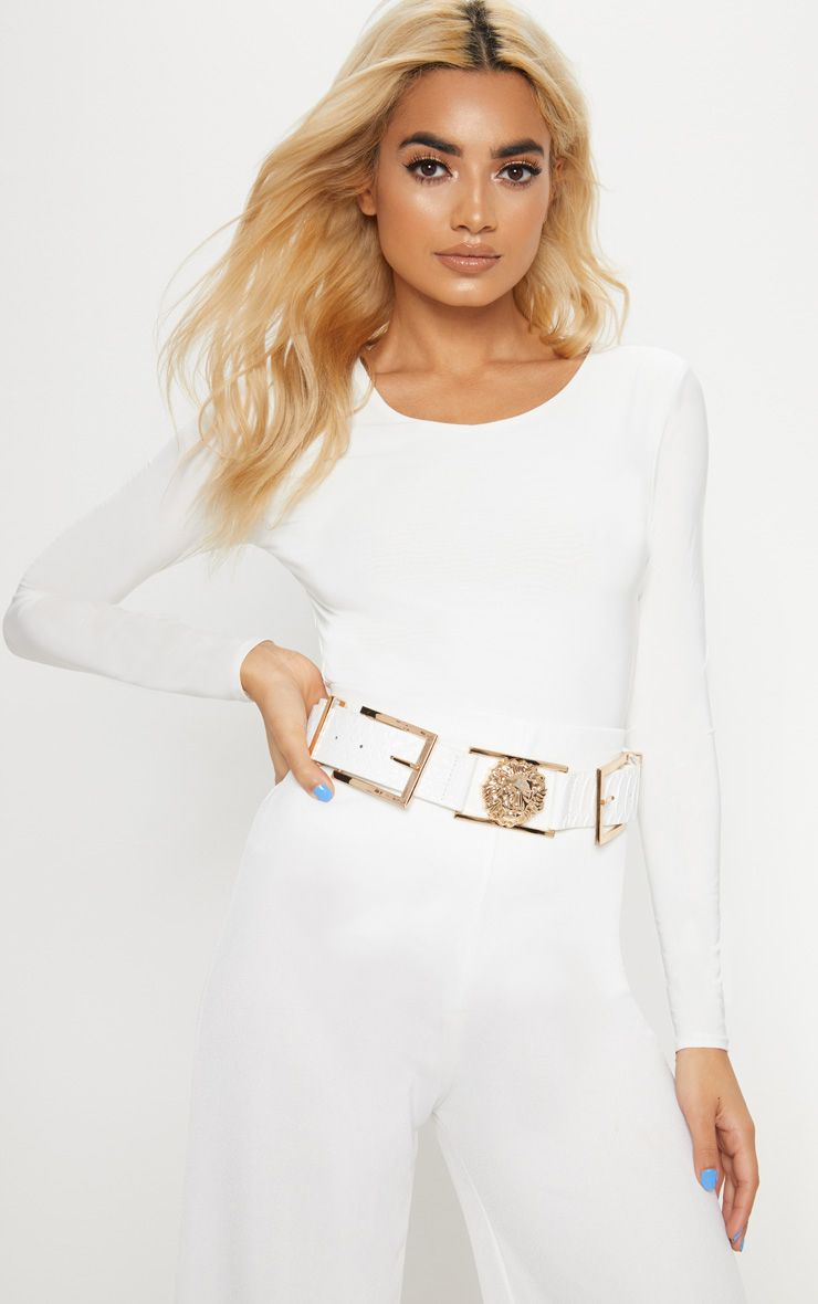 WHITE CROC LION BUCKLE DETAIL BELT