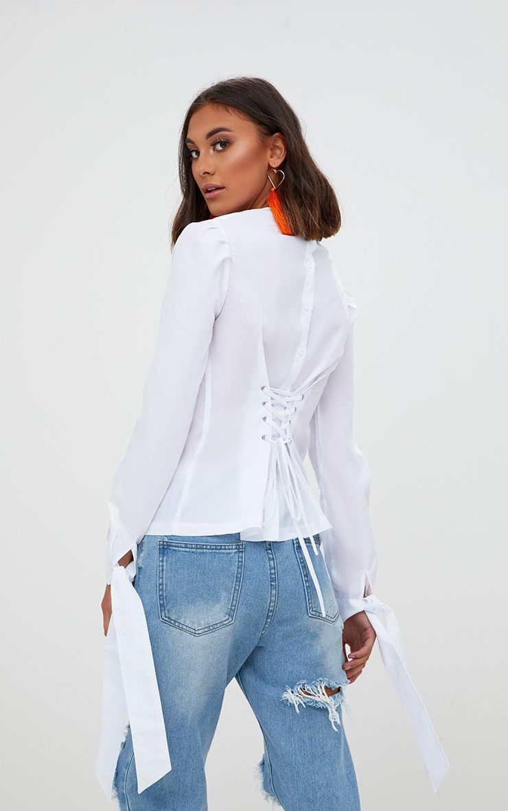 White Lace Up Back Tie Sleeve Shirt