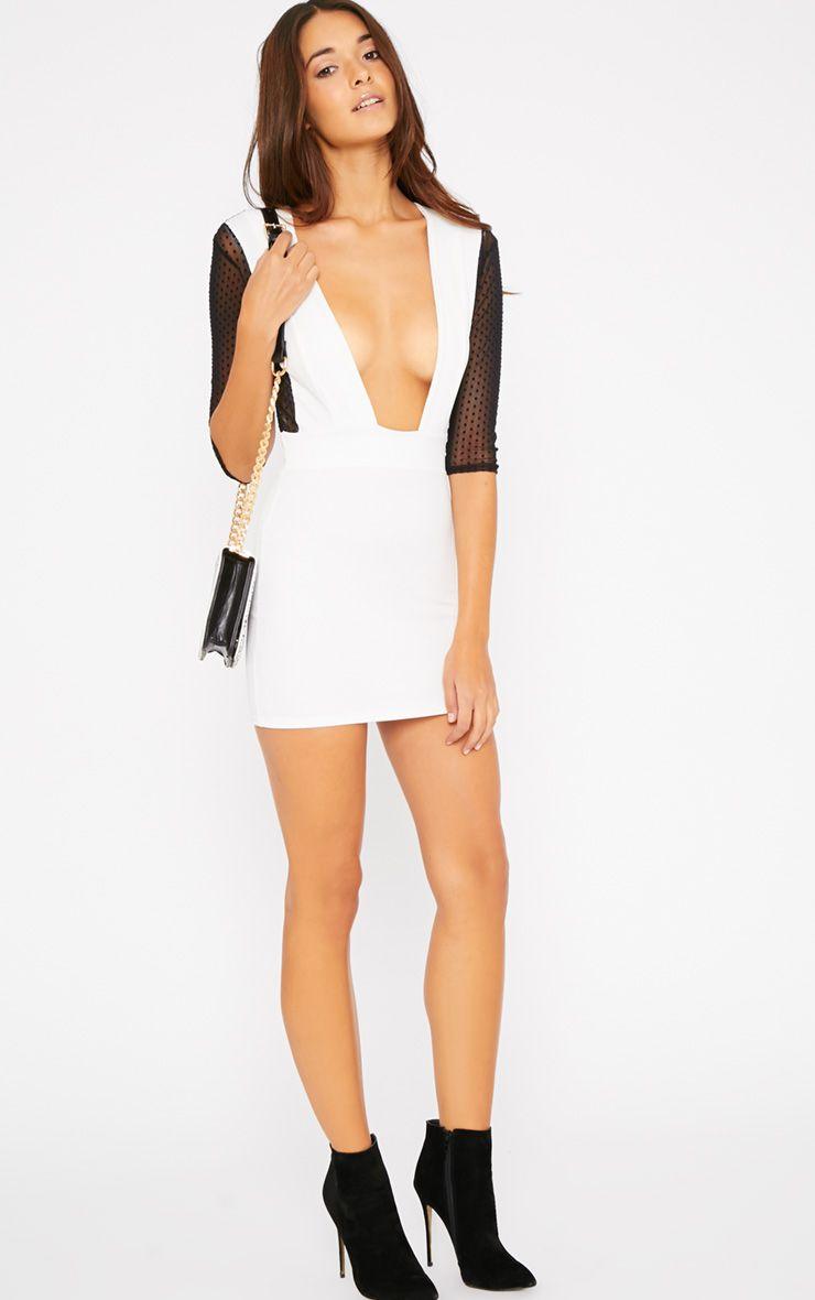 Jade White Polka Dot Mesh Insert Plunge Mini Dress