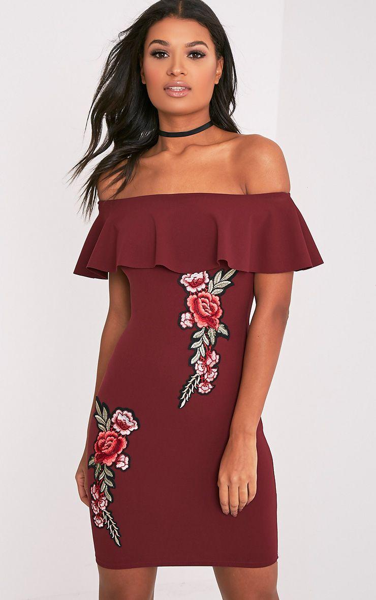Amandie Wine Frill Bardot Floral Applique Midi Dress