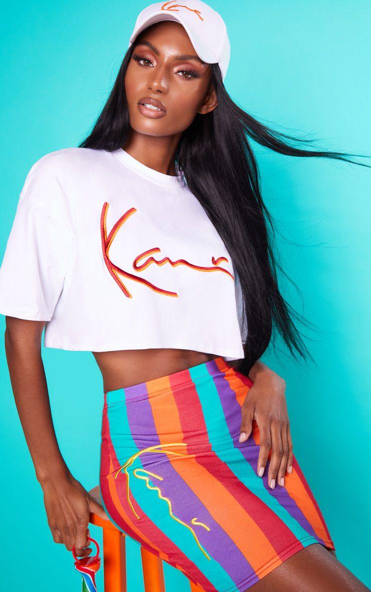 KARL KANI White Embroidered Crop T Shirt